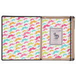 Colorful pink aqua trendy funny mustache pattern cases for iPad