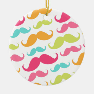 Colorful pink aqua trendy funny mustache pattern ceramic ornament