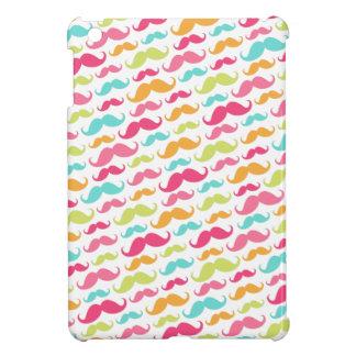 Colorful pink aqua trendy funny mustache pattern iPad mini covers
