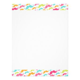 Colorful pink aqua trendy funny mustache pattern custom letterhead