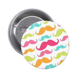 Colorful pink aqua trendy funny mustache pattern pinback button