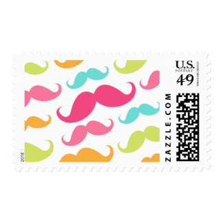 Colorful pink aqua trendy funny mustache pattern postage