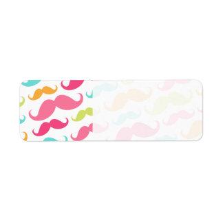 Colorful pink aqua trendy funny mustache pattern return address label