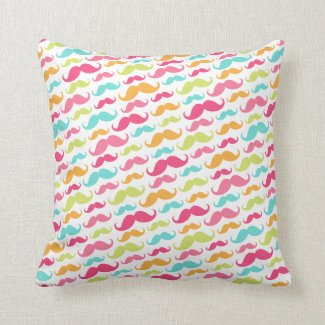 Colorful pink aqua trendy funny mustache pattern throw pillows