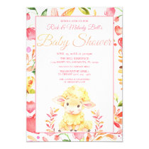 Colorful Pink Baby Sheep / Lamb Girl's Baby Shower Invitation