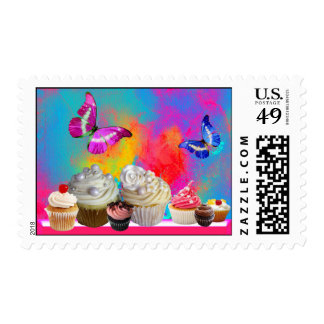 COLORFUL PINK BLUE BUTTERFLIES ,BIRTHDAY CUPCAKES POSTAGE