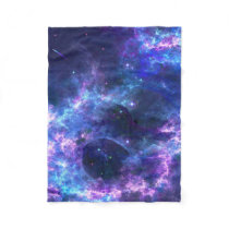Colorful pink blue galaxy nebula pattern fleece blanket