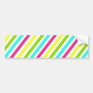Colorful Pink Blue Green Yellow Neon Stripes Bumper Sticker