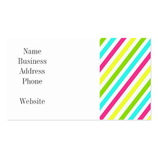 Colorful Pink Blue Green Yellow Neon Stripes Business Card
