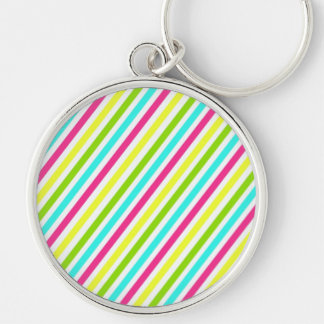 Colorful Pink Blue Green Yellow Neon Stripes Keychain