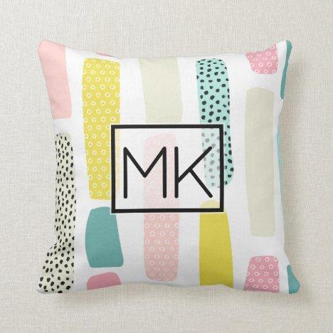 Colorful Pink, Blue Pastel Brush Stroke Monogram Throw Pillow