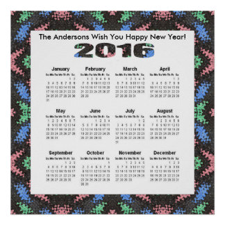 Colorful Pink Blue Pattern 2016 yearly calendar Poster
