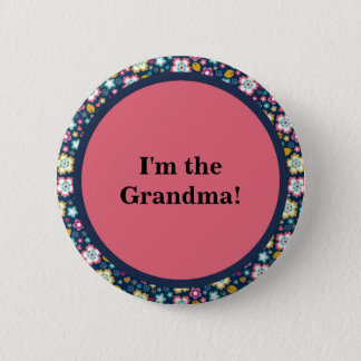 Colorful Pink Blue White Floral Grandma Button