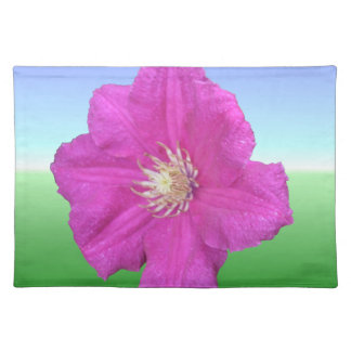 Colorful Pink Clematis Flower Cloth Placemat