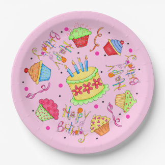 Colorful Pink Cupcakes and Cake Happy Birthday 9 Inch Paper Plate