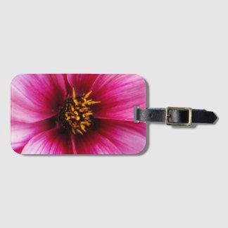 Colorful Pink Dahlia Flower Detail Bag Tag