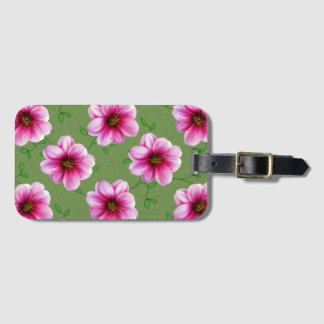 Colorful Pink Dahlia Flowers on any Color Bag Tag