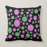 colorful pink green polka dots pillow