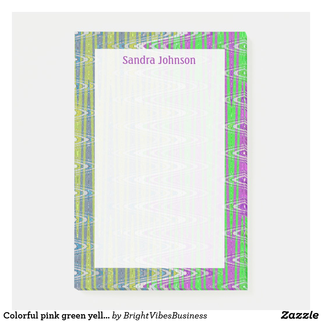 Colorful pink green yellow pattern post-it notes