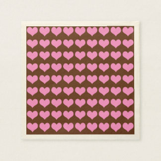 Colorful Pink Hearts on Chocolate Brown Background Napkin