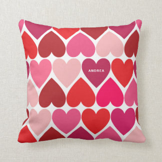 Colorful Pink Hearts Pattern Personalized Pillow