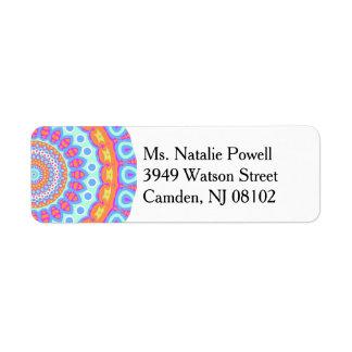 Colorful Pink Mandala Design Label