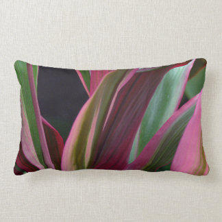 """COLORFUL PINK,MAUVE, AND GREEN COLOR LEAVES"" LUMBAR PILLOW"