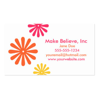 Colorful Pink Orange and Yellow Flowers Double-Sided Standard Business Cards (Pack Of 100)