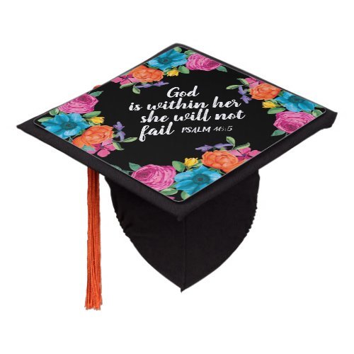 Colorful Pink Orange Blue Floral Black Christian Graduation Cap Topper