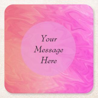 Colorful Pink Orange Texture Design Square Paper Coaster
