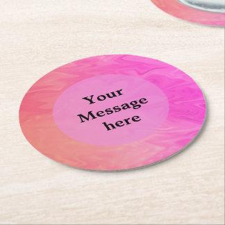 Colorful Pink Orange Texture Design Round Paper Coaster