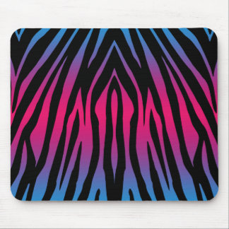 Colorful Pink Purple Blue and Black Zebra Stripes Mouse Pad