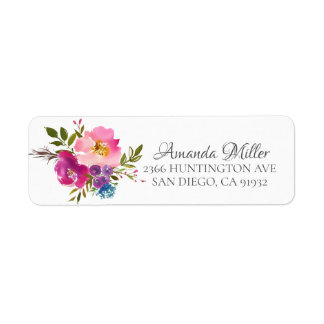 Colorful Pink & Purple Floral Return address Label