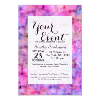 Colorful Pink Purple Mixed Watercolor Pattern Card