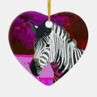 Colorful Pink Purple Neon Zebra Ceramic Ornament