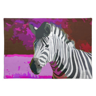 Colorful Pink Purple Neon Zebra Cloth Placemat