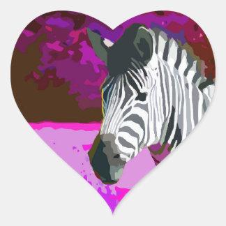 Colorful Pink Purple Neon Zebra Heart Sticker