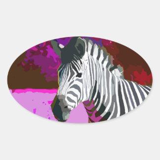 Colorful Pink Purple Neon Zebra Oval Sticker