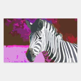 Colorful Pink Purple Neon Zebra Rectangular Sticker