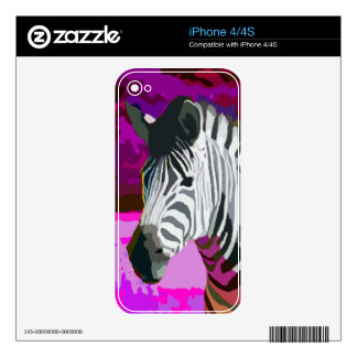 Colorful Pink Purple Neon Zebra Skins For The iPhone 4