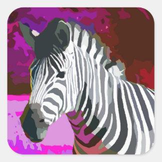Colorful Pink Purple Neon Zebra Square Sticker