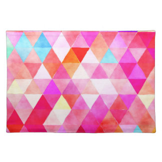 Colorful Pink Red Watercolor Triangle Pattern Placemat