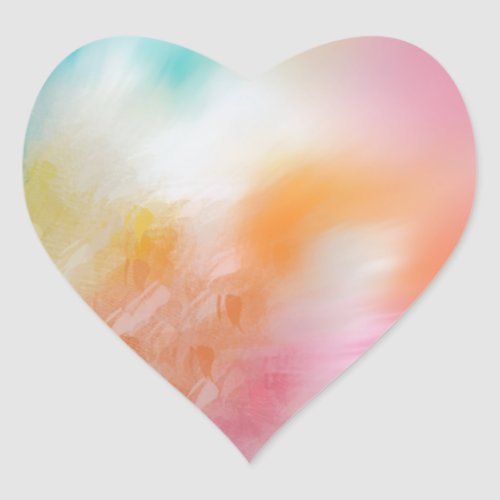 Colorful Pink Red Yellow Blue Abstract Trendy Heart Sticker