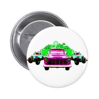 Colorful Pink Vintage Trucks Button