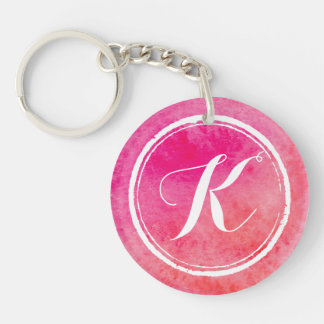 Colorful Pink Watercolor Monogram | Keychain