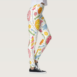 Colorful Pink Yellow Blue Candy on White  Leggings