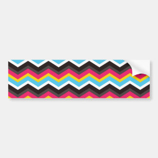 Colorful Pink Yellow Blue Chevron Stripes Zig Zag Bumper Sticker