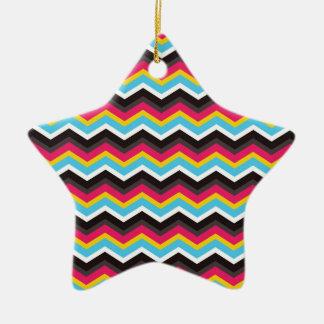Colorful Pink Yellow Blue Chevron Stripes Zig Zag Ceramic Ornament