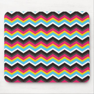 Colorful Pink Yellow Blue Chevron Stripes Zig Zag Mouse Pad