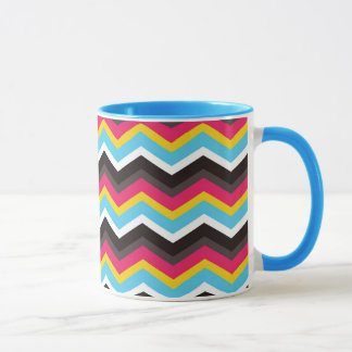 Colorful Pink Yellow Blue Chevron Stripes Zig Zag Mug